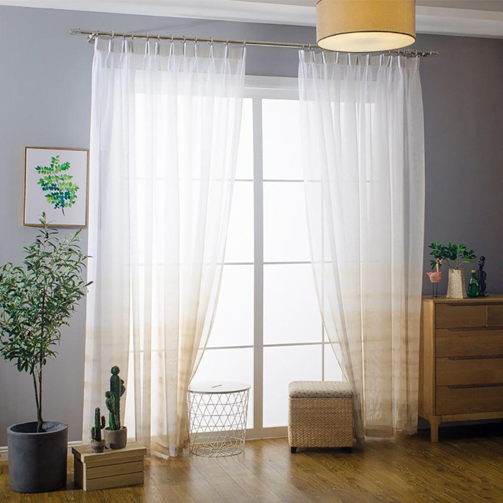 Orange Yellow Gradient Sheer Curtains White Voile Drapes For Bedroom 1 Anady Top