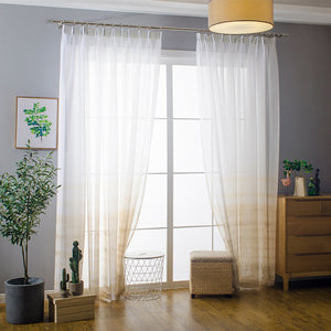 Orange/Yellow Gradient Sheer Curtains White Voile Drapes for Bedroom 1 Set of 2 Panels - Anady Top Space Design