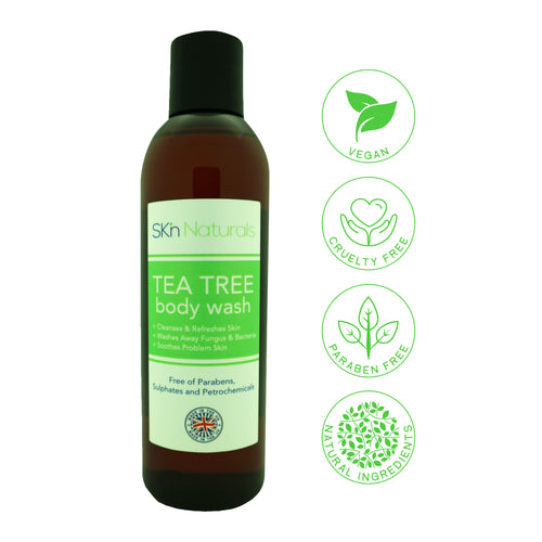 Antifungal Soap with Tea Tree Oil - 100% Natural Shower Gel & Body Wash - Kills Bacteria - Relieves Acne, Odour, Ringworm, Jock Itch, Nail Fungus & Athlete's Foot, - Soothes Dry & Itchy Skin