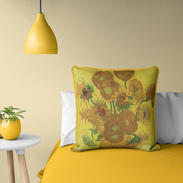 "Van Gogh - Sunflowers Pillow 20"" x 20"""
