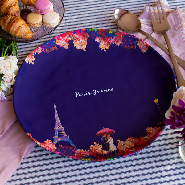 Paris, France Melamine Platter Round 14""