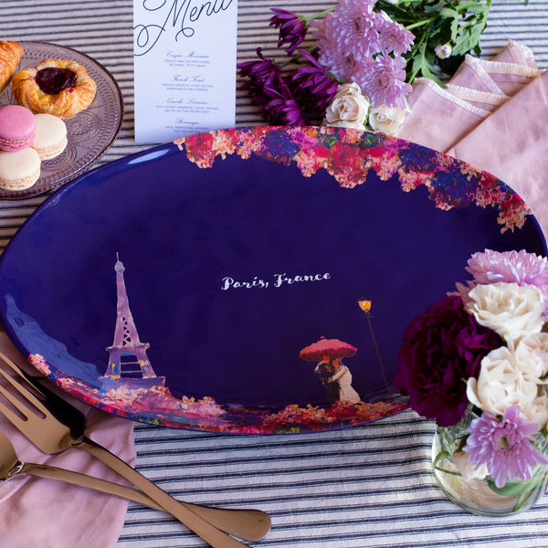 "Paris, France Melamine Platter Oval 17.5"" x 13"""