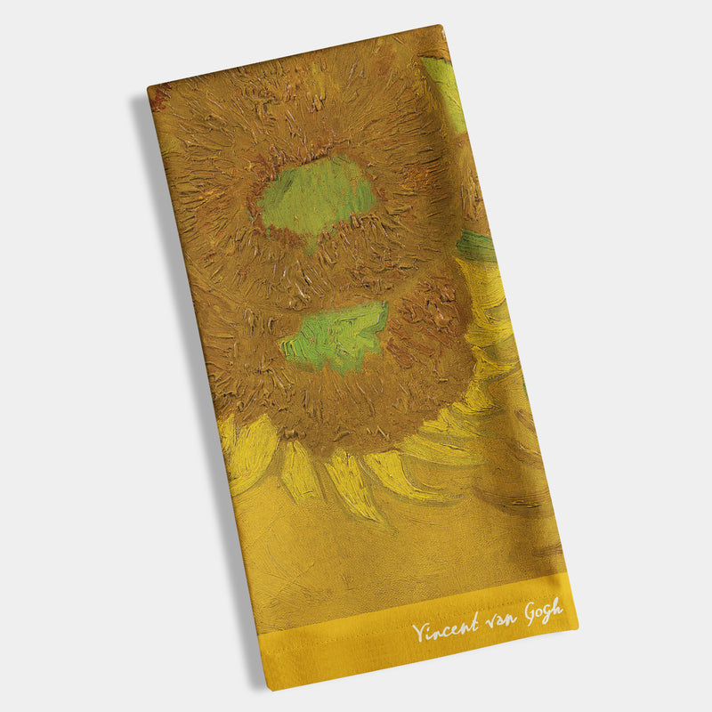 "Van Gogh - Sunflowers Napkin, Hostess 8"" x 4.4"" -12 ct"