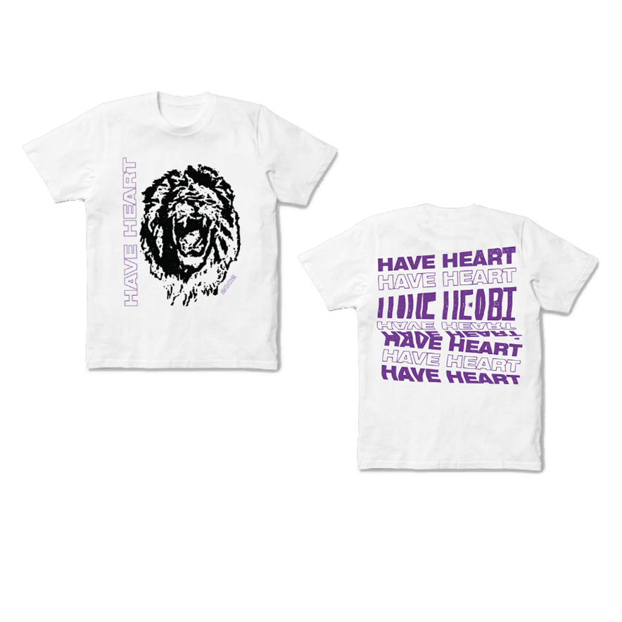 "Have Heart - ""Lion"" T-Shirt  - Purple On White"