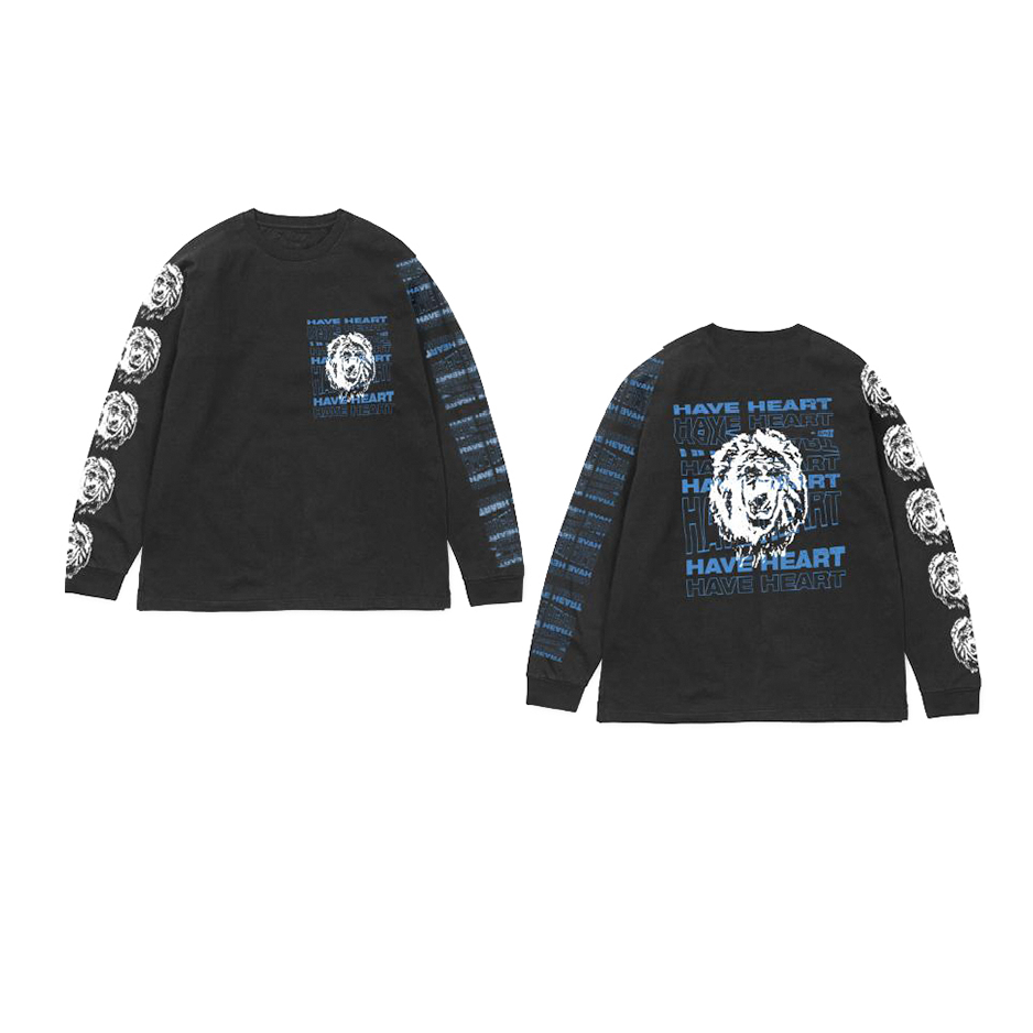 "Have Heart - ""Lion"" Long Sleeve Shirt  - Blue on Black"