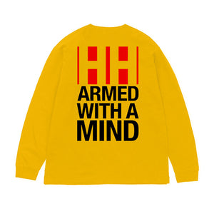 "Have Heart - ""Armed With A Mind"" Long Sleeve Shirt  - Red and Black on Yellow"