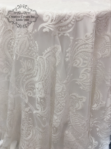 "White French Damask 90"" x 90"" Square"