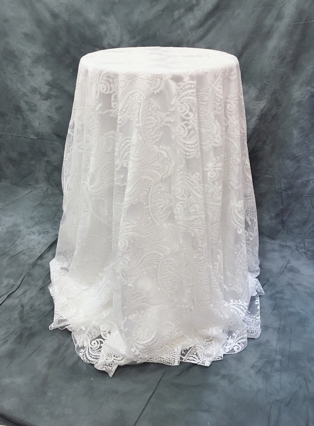 White French Damask Sequin Overlay