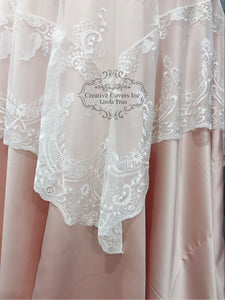 White Prem Bordered Lace Overlay