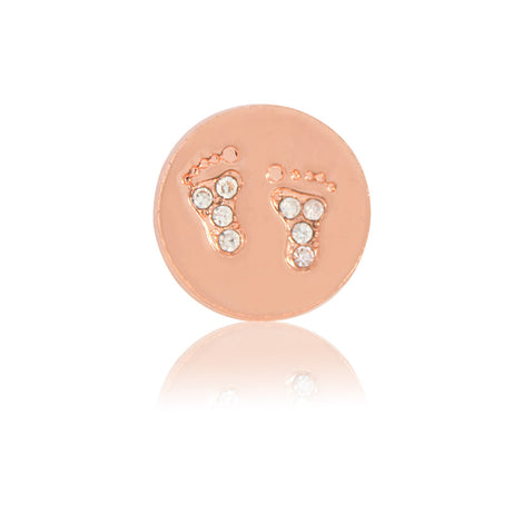baby feet slide charm rose gold