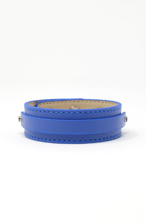 Wide Vegan Leather Band - Blue