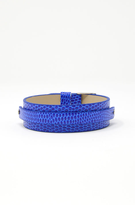 Wide Vegan Leather Band, Buckle Closure - Blue/Snake