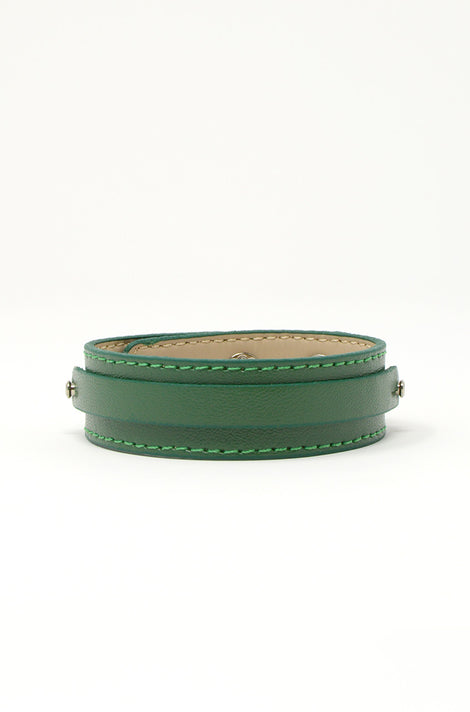 Wide Vegan Leather Band - Forest Green