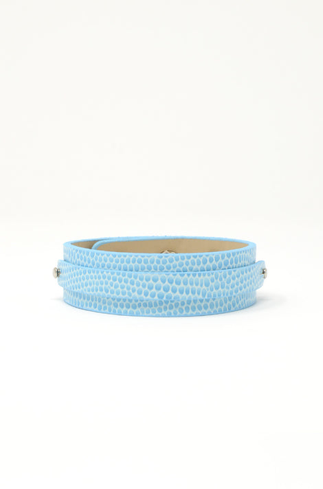 Wide Vegan Leather Band - Baby Blue/Snake