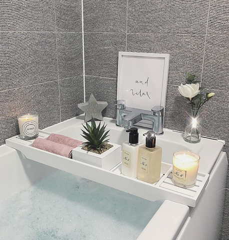 Bath products on a bath tray
