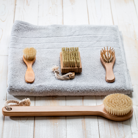 Different dry body brushes