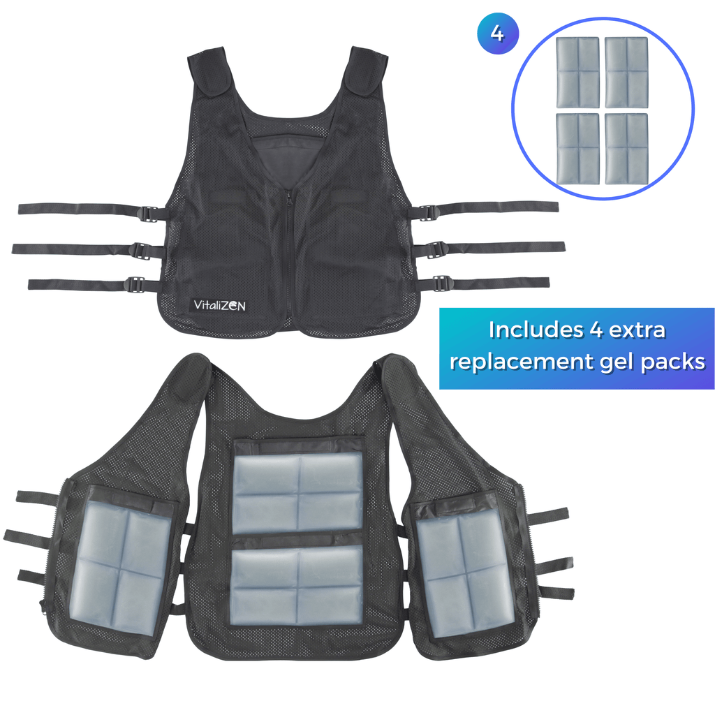 Cooling Vest with Set of 8 Non-Toxic Gel Cooling Pads for Heat Relief, Sports, Outdoor