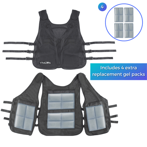 Image of Cooling Vest with Set of 8 Non-Toxic Gel Cooling Pads for Heat Relief, Sports, Outdoor