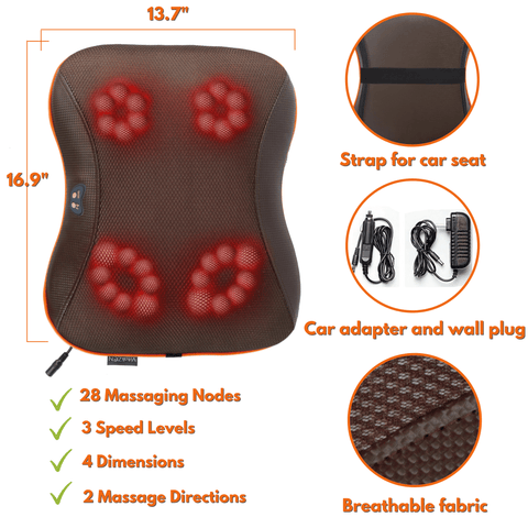 Heating Electric Massager, 28 Heads, Multi-functional, Deep Tissue Kneading for Neck, Shoulders, Lower Back, Thighs, Legs & Feet, Muscle Pain Relief
