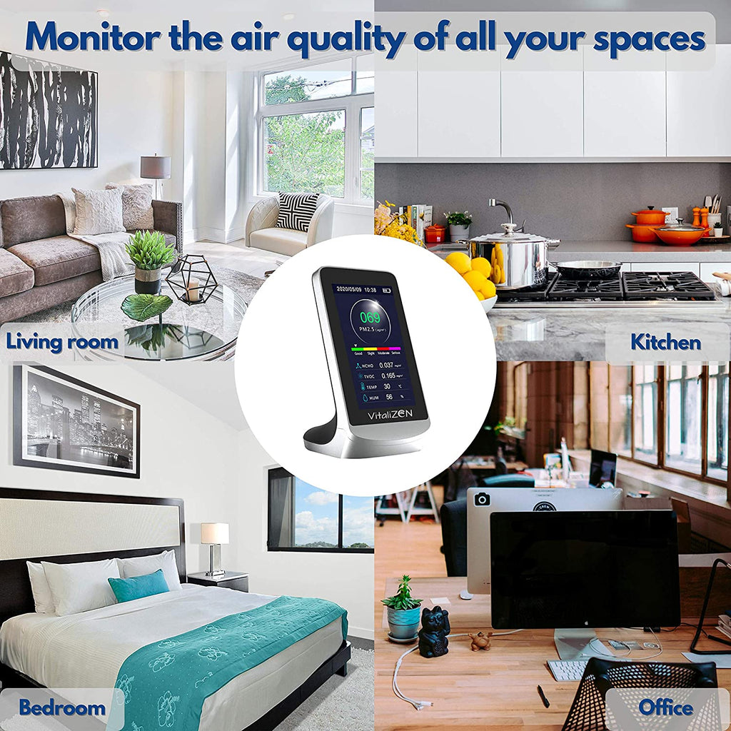 Air Quality Monitor, Formaldehyde Detector, Indoor Pollution Meter,Tester, Sensor, Temperature and Humidity, Air Detector PM2.5/PM10/HCHO/TVOC Real-Time