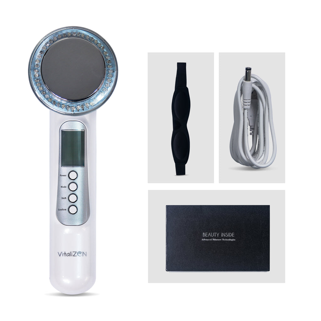 7 in 1 Face And Body Rejuvenating Massager- Anti-Aging, Skin Tightening, Better Skin Complexion, Red, Blue & Green Light.