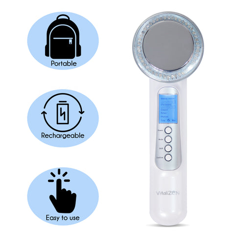 Image of 7 in 1 Face And Body Rejuvenating Massager- Anti-Aging, Skin Tightening, Better Skin Complexion, Red, Blue & Green Light.