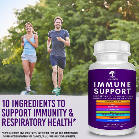 Immune Support Supplement w/ Elderberry, Vitamin C, Echinacea, Zinc, Probiotics, Garlic, & More. Support Immunity, Respiratory & Digestive Health.