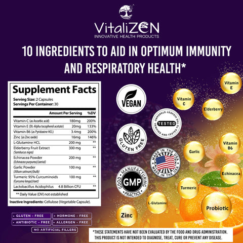 Image of VitaliZEN 10 in 1 Immune System Support Supplement. Elderberry, Vitamin C, Echinacea, Zinc, Probiotics, Garlic, and More. Daily Supplement to Support Immunity, Respiratory & Digestive Health