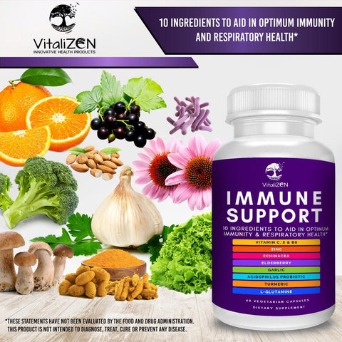 Image of Immune Support Supplement w/ Elderberry, Vitamin C, Echinacea, Zinc, Probiotics, Garlic, & More. Support Immunity, Respiratory & Digestive Health.