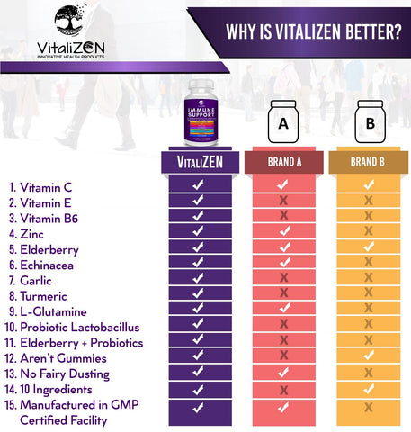 VitaliZEN 10 in 1 Immune System Support Supplement. Elderberry, Vitamin C, Echinacea, Zinc, Probiotics, Garlic, and More. Daily Supplement to Support Immunity, Respiratory & Digestive Health