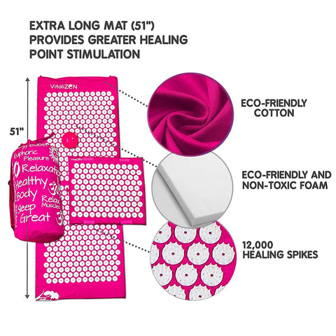 "Extra Long 51"" & 12,000 Spikes Acupressure Mat Set for Back Pain Relief & Muscle Relaxation. Free Massage Ball, Travel-Size Mat & Carrying Bag (Pink)"