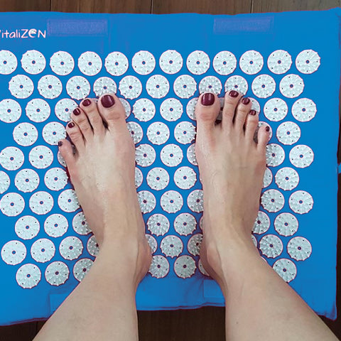 "VitaliZEN 51"" Acupressure Mat w/12,000 Healing Points For Back Pain & Sleep Aid Relief (Blue)"