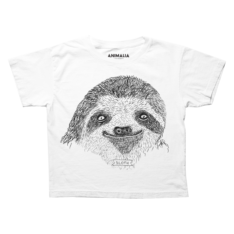 Boxy tee with sloth face and sloth banner.