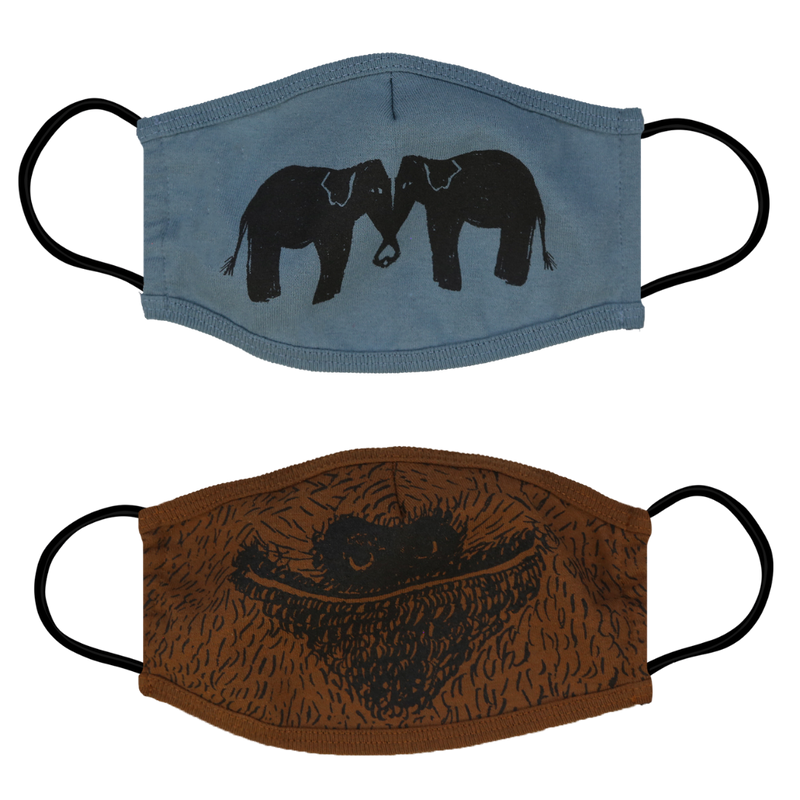 Elephant & Sloth Face Masks - 2 Pack