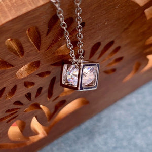 Cube Necklace with Crystal Center