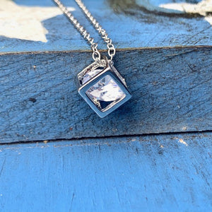 Cube Necklace with Crystal Center | Blessed Be Boutique