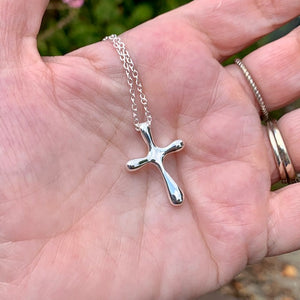 Bubble Cross Sterling Silver Necklace