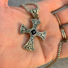 Load image into Gallery viewer, Retro Black Stone Cross Necklace