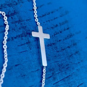 Slanted Cross Choker Necklaces