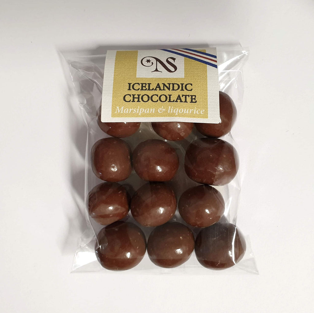 Chocolate Marsipan and liquorice balls