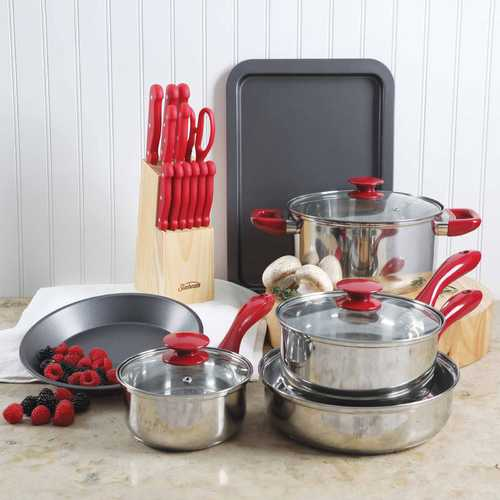 Sunbeam Crawford 22 Piece Cookware Combo Set in Red