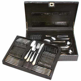 High-Quality, Heavy-Gauge Stainless Steel 72pc Flatware and Hostess Set with Gold Trim