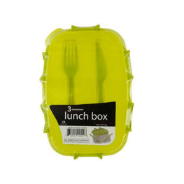 Divided Plastic Lunch Box with Fork & Knife ( Case of 24 )