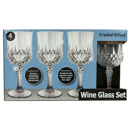 7 oz Crystal Effect Plastic Wine Glass Set ( Case of 4 )