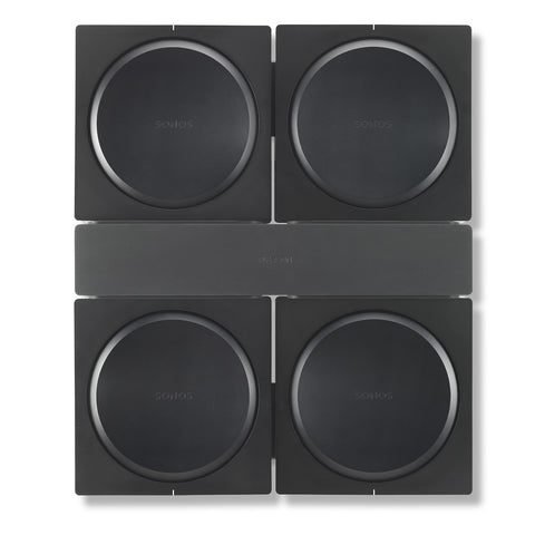 Front Sample View Flexson Wall Mount For 4 SONOS AMPS (Black)