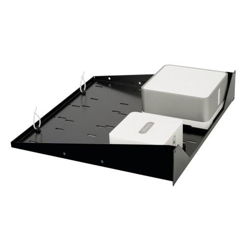 "Flexson 19"" Rack Shelf for SONOS Connect and Connect:Amp (Single, Black) Angle"