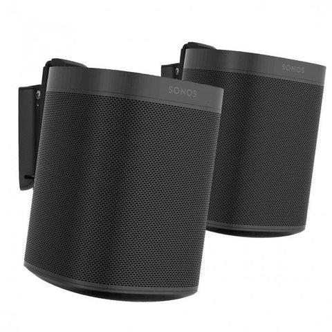 Pair Front Sample View Flexson Wall Mount for SONOS One (Pair, Black)