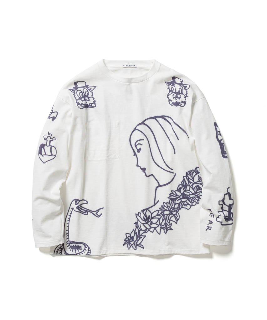 "FLAGSTUFF ""O'Neil L/S T-Shirt"" White"