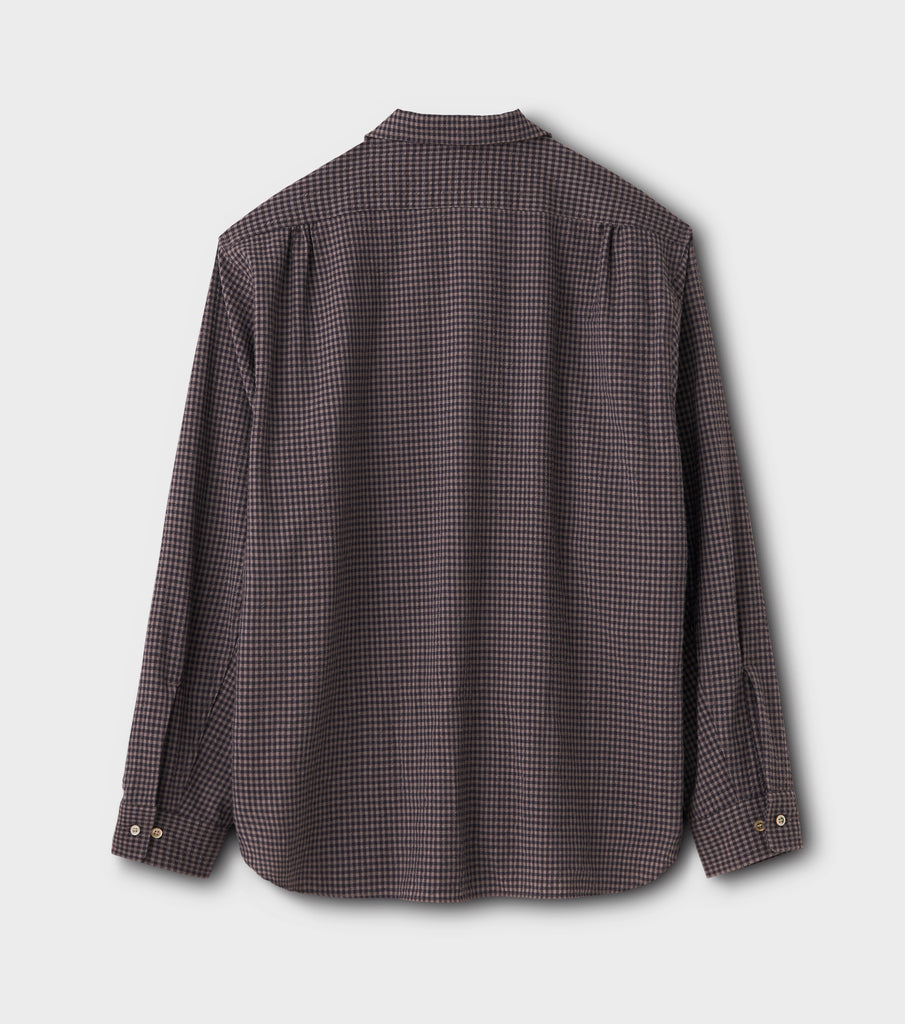 "PHIGVEL MAKERS & Co. ""Seersucker Gingham L/S Open Collar Shirt"" Purple Brown"