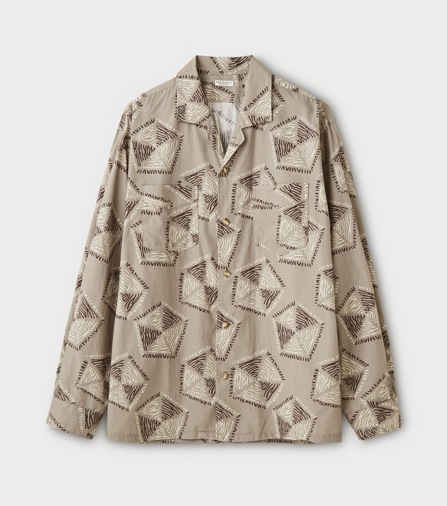 "PHIGVEL MAKERS & Co. ""Traditional Pattern L/S Open Collar Shirt"" Taupe Gray"